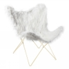 Butterfly Chair, white syntethic fur , brass frame