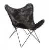 Butterfly Chair, black syntethic fur , black frame