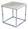 Accent Coffe table, 50x50, light marble/shiny chrome