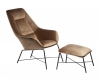 Adele Armchair with footstool, brown