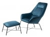 Adele Armchair with footstool, turquoise