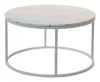 Accent coffee table round, Ø85, light marble/white lacquer