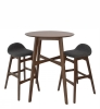 Ludvig Bartable set, walnut, 1table+2chairs